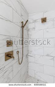 Brass Fixtures Bathroom Modern Bathroom Brass Fixtures Stock Photo 606586511
