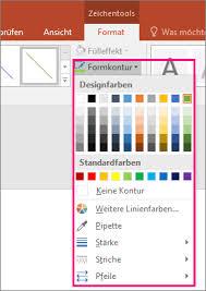 powerpoint design zuweisen ändern der farbe art oder stärke einer linie office support
