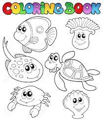 imagenes animales acuaticos para colorear libro para colorear con animales marinos 3 ilustración vectorial