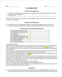 downloadable standard personal loan agreement template and form