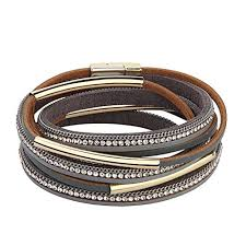 crystal buckle bracelet images Bracelet women magnet buckle genuine wrap crystal bracelet grey jpg