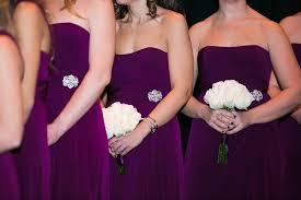 plum wedding dresses bouquets photos plum bridesmaid dresses white bouquets
