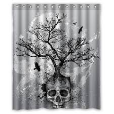 creative skull tree black eagle shower curtain 60inx 72in ebay