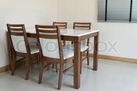 Dining Table For 4 Wooden Dining Table For 4 People Stock Photo Colourbox