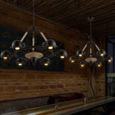 Spotlight Chandelier Industrial 6 Light Spotlight Chandelier With Rope In Black Finish