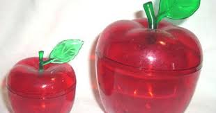 vintage plastic apple see thru red canister fruit box w lid top