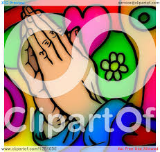 clipart of a stained glass design of praying colors