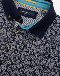 printed collar polo navy tops u0026 t shirts ted baker uk polo