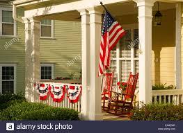 Front Porch Flag Pole American Patriotic Bunting House Stock Photos U0026 American Patriotic