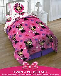 Comforter Set With Sheets Disney Minnie Mouse Twin 4 Piece Bedding Set With Tote