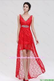 pretty graduation dresses v neck laced and beaded 8th grade graduation dresses with high low