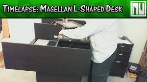 realspace magellan l shaped desk magellan l shaped desk w hutch assembly timelapse youtube
