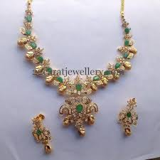 gold color necklace images Cz necklace with gold color pearls jewellery designs jpg
