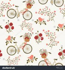 spring floral seamless pattern floral bicycle stock vector