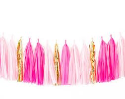 pink garland pink and gold tassel garland pink theme party decor pink