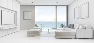 sea view living room with terrace in luxury beach house sketch