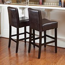 amazon com cosmopolitan dark brown leather counter stools set of
