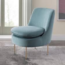 Slipper Armchair Modern Curved Velvet Slipper Chair West Elm