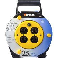 Workchoice Outdoor Grounded Outlet With by Woods Extension Cord Reel With 4 Outlets 16 3 Sjtw And 12a Circuit