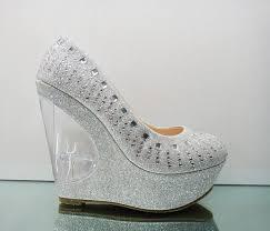 silver wedding shoes wedges wedding shoes ideas toes rhonestones acrylic wedge silver