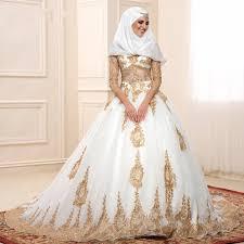 brautkleid rmel spitze 2016 gold und weiß islamischen brautkleider vestido de noiva