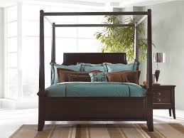 King Size Canopy Bed Frame Dar Brown Polished Wooden Bed With 4 Poles Canopy Using Blue