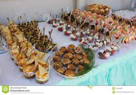 closeup image of gourmet snacks at the party royalty free stock