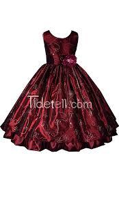ball gown scoop taffeta tea length embroidery flower dresses
