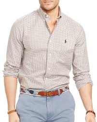 ralph lauren polo slim fit checked stretch oxford shirt in brown