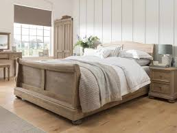 Oak Sleigh Bed Oak Bedrooms Huntsman Smoked Oak Sleigh Bed Frame Buy At
