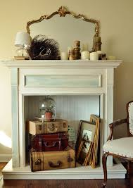 adding the finishing touch with a faux fireplace mantel