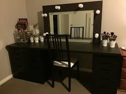 Makeup Vanity With Lighted Mirror Furniture Large Black Corner Bedroom Makeup Vanity Set With