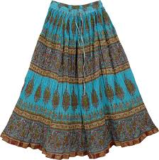 cotton skirts crinkled blue pattern skirt clothing sale on bags skirts