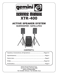 gemini active speaker xtr 400 service manual loudspeaker