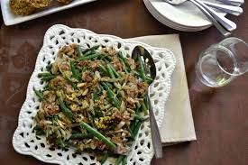 green beans with schmaltz fried shallots thanksgiving