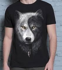 yin yang wolf t shirt m
