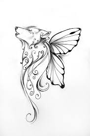 wolf with butterfly wings design