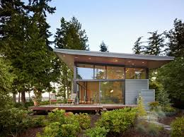winsome modern house in forest design with soft lighting idea in