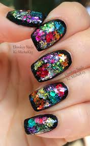 guest post color block glitter framed nail art with ehmkay nails