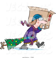 cartoon vector of a sad woman carrying dragging christmas tree in