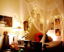 white sheer curtains and nice string lights for amusing teen