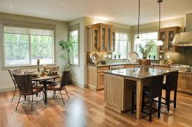 open kitchen and dining room custom brown wooden wall storage