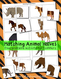 matching animal halves printable activity totschooling toddler