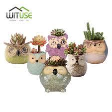 wituse owl flower pot ceramic glazed plants pots decorative