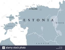 Baltic States Map Estonia Political Map With Capital Tallinn National Borders And