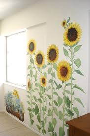 Sunflower Themed Bedroom Handpainted Fabric Furniture Floorcloths Pillows Ceramics