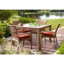 Wicker Patio Dining Chairs Charlottetown Natural 5 Piece All Weather Wicker Patio Dining Set