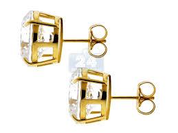 push back earrings 14k yellow gold 13 00 ct cz push back mens stud earrings 12 mm