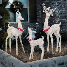 Home Depot Christmas Lawn Decorations by Set Of 3 Decorative Holiday Deer 36