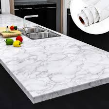 white kitchen cabinets with marble counters yenhome faux marble peel and stick countertops 24 x 118 white gray marble counter top covers peel and stick wallpaper for kitchen backsplash peel